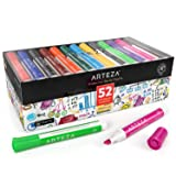 ARTEZA Dry Erase Markers, Bulk Pack of 52 (with Chisel Tip), 12 Assorted Colors with Low-Odor Ink, Whiteboard Pens are perfect for School, Office, or Home (Color: 12 Colors)