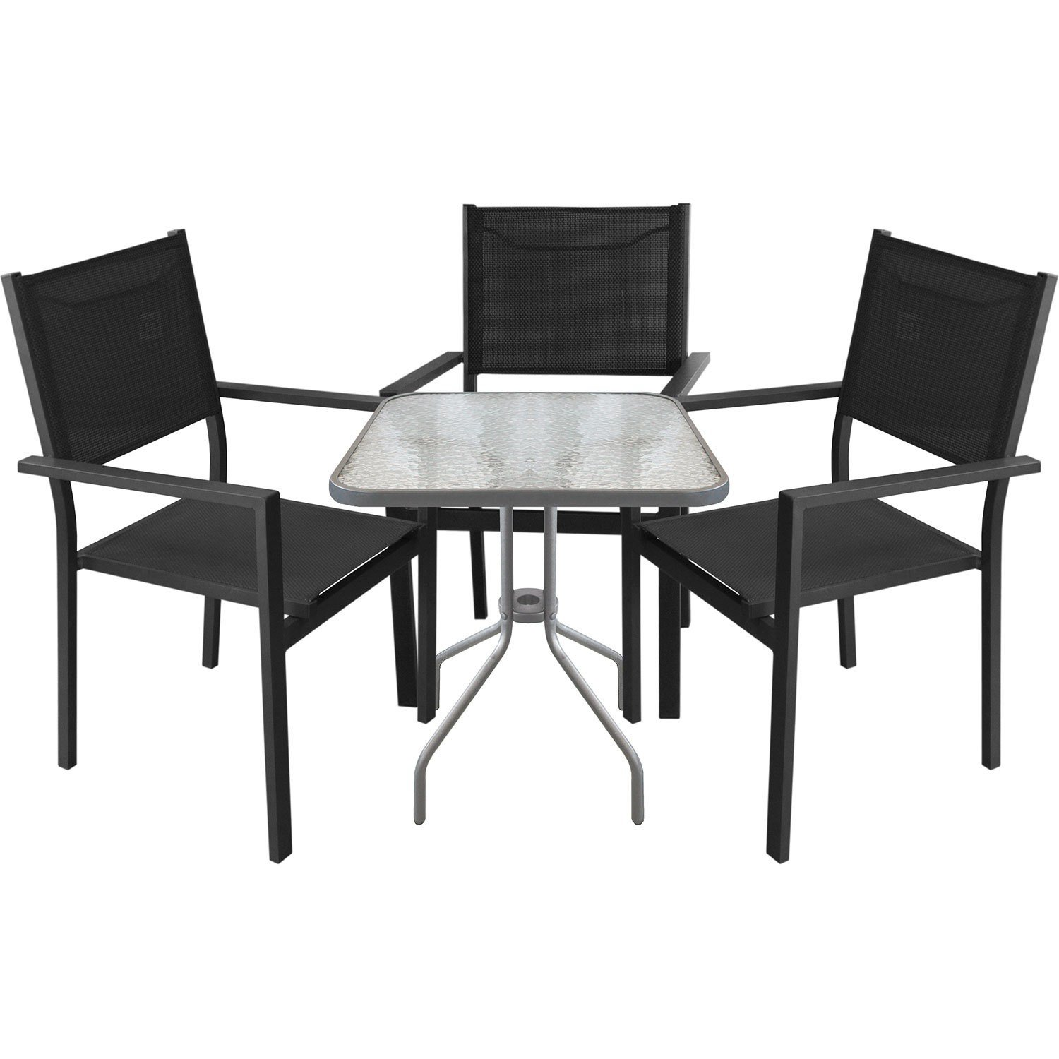 4tlg bistrogarnitur gartengarnitur bistrotisch 60x60xh71cm gartentisch mit tischglasplatte inkl. Black Bedroom Furniture Sets. Home Design Ideas