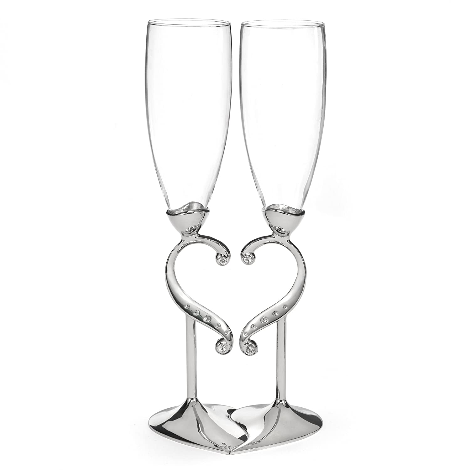 Hortense B. Hewitt Champagne Toasting Flutes Wedding Accessories, Linked Love