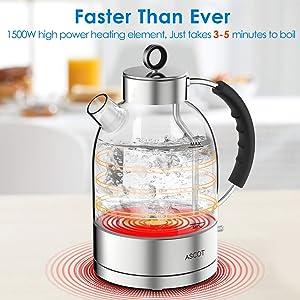ASCOT KE1003 1 7L Glass Electric Kettle, Hot Water Boiler