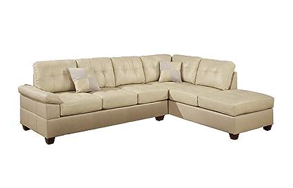Poundex Bobkona Randel Bonded Leather 2-Piece Reversible Sectional Sofa, Khaki