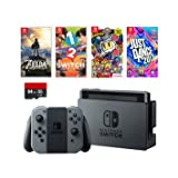 Nintendo Swtich 6 items Bundle:Nintendo Switch 32GB Console Gray Joy-con,64GB Sd Card,4 Game Disc1-2-Switch Just Dance2017 The Legend of Zelda Super Bomberman R