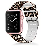 Lwsengme Compatible for Apple Watch Band 38mm 40mm, Soft Silicone Replacment Sport Bands iWatch Series 4 Series 3 Series 2 Series 1 - Pattern Printed (Flower-6, 38MM/40MM) (Color: Pattern 6, Tamaño: 38MM/40MM)