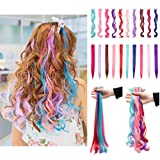 Colorful Clip in Hair Extension Party Highlight Streaks Rainbow Colored Synthetic Hairpieces Multiple Colors 22'' (Color: 10 Colors-wavy, Tamaño: 22'')