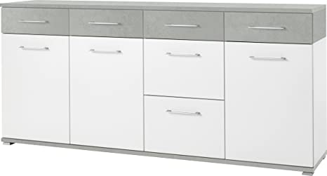 Germania 3779-531 Sideboard GW-Topix in Weiß/Beton-Optik, 192 x 87 x 40 cm (BxHxT)