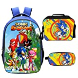 Qushy Sonic Backpack Lunch Box Pencil Case Outdoor School Package (B) (Color: B)