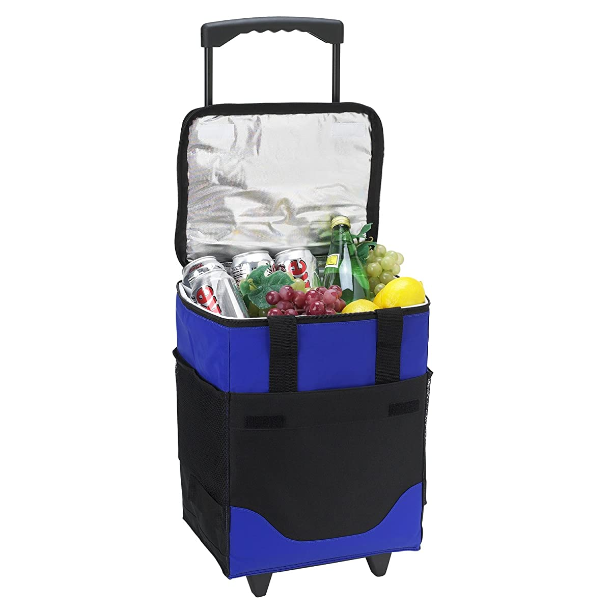 Picnic at Ascot Insulated 6 Bottle Wine Carrier On Wheels, Royal Blue