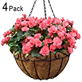 Amagabeli 4 Pack Metal Hanging Planter Basket with Coco Coir Liner 14 Inch Round Wire Plant Holder with Chain Porch Decor Flower Pots Hanger Garden Decoration Indoor Outdoor Watering Hanging Baskets (Color: Brown, Tamaño: 14inch)