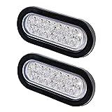 2x White 22 LED Universal Oval Tail Light Rubber Grommet Reverse Backup for Truck Trailer RV UTE