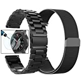 Gear S3 Frontier/Classic Watch Bands, Valkit 22mm Stainless Steel Band + Milanese Loop Mesh Replacement Bracelet Metal Strap for Samsung Gear S3 Frontier/S3 Classic Smart Watch (Color: For Gear S3 Bands - 2 Black)
