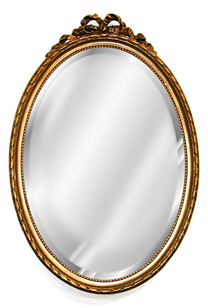 Hickory Manor Antique Oval Mirror with Bow, Gold