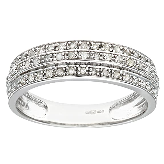 Naava 9ct White Gold 0.25ct Triple Row Diamond Half Eternity Ring