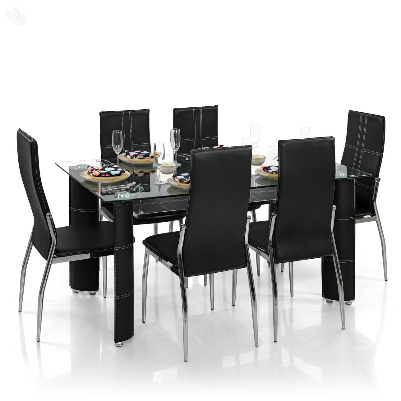 Royal oak modern geneva dining set with 6 chairs black for Royal kitchen set