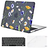 MOSISO MacBook Air 13 Inch Case 2018 Release A1932 with Retina Display, Plastic Pattern Hard Case Shell & Keyboard Cover & Screen Protector Only Compatible Newest MacBook Air 13, Black Base Daisy (Color: Black Base Daisy, Tamaño: 13 Inches)