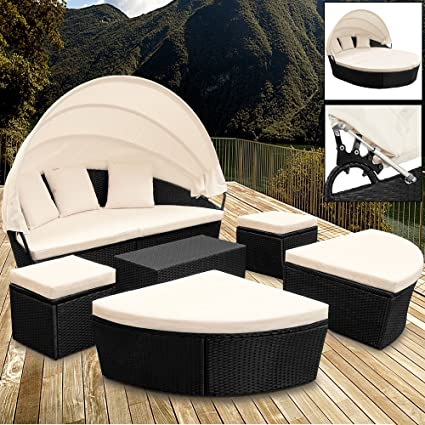 Rattan Sun Day-Bed Garden Furniture with Table and Canopy Black Outdoor Patio Sofa Lounger Set