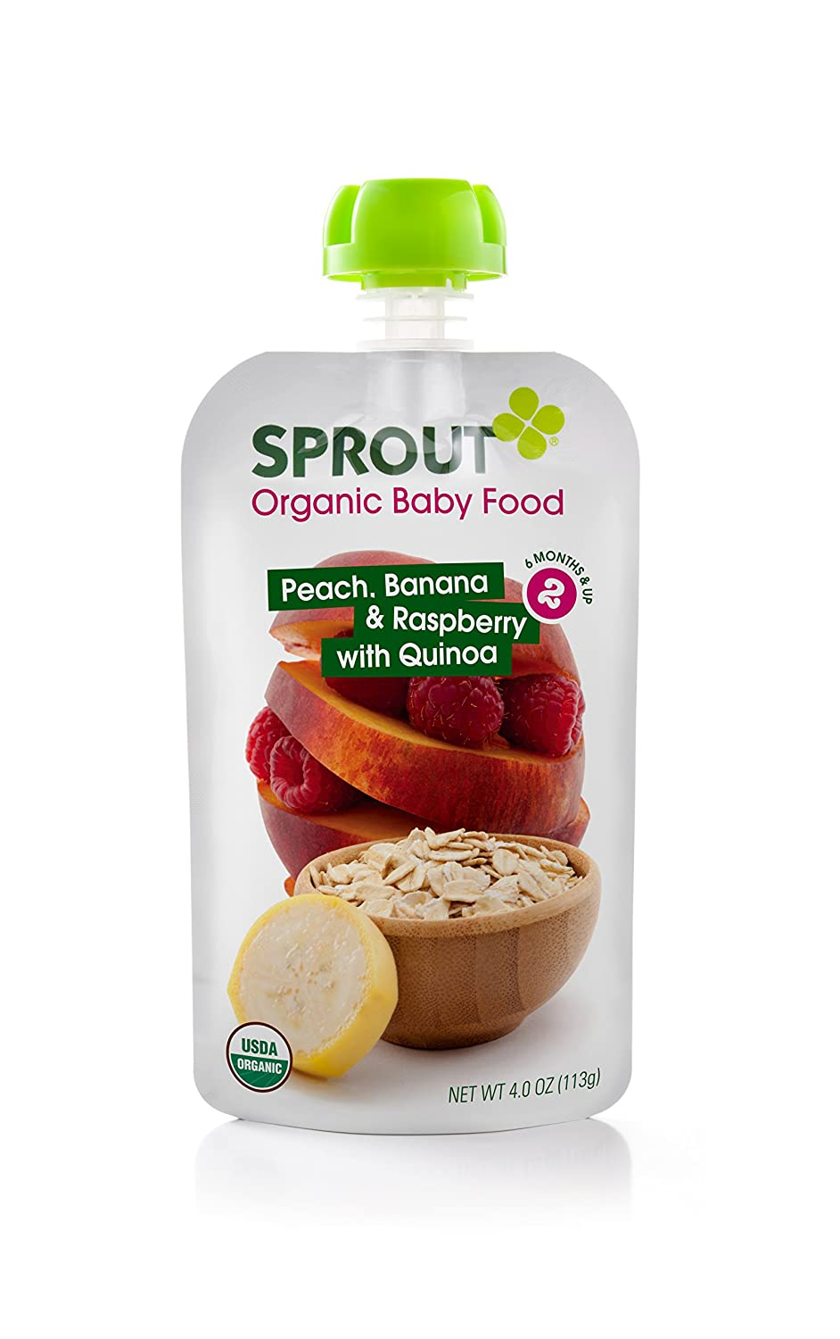 Sprout Organic Foods Stage 2 Pouches, Peach, Banana & Raspberry with Quinoa, 4 Ounce (Pack of 5)