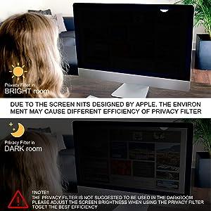 Magicmoon Privacy Filter Screen Protector, Anti-Spy&Glare Film for 21.5 inch Widescreen Computer Monitor (21.5'', 16:9 Aspect Ratio) (Tamaño: 21.5 Widescreen (16:9))