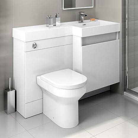 1200 mm Modern Gloss White Bathroom Drawer Vanity Unit Basin Sink + Toilet Furniture Set