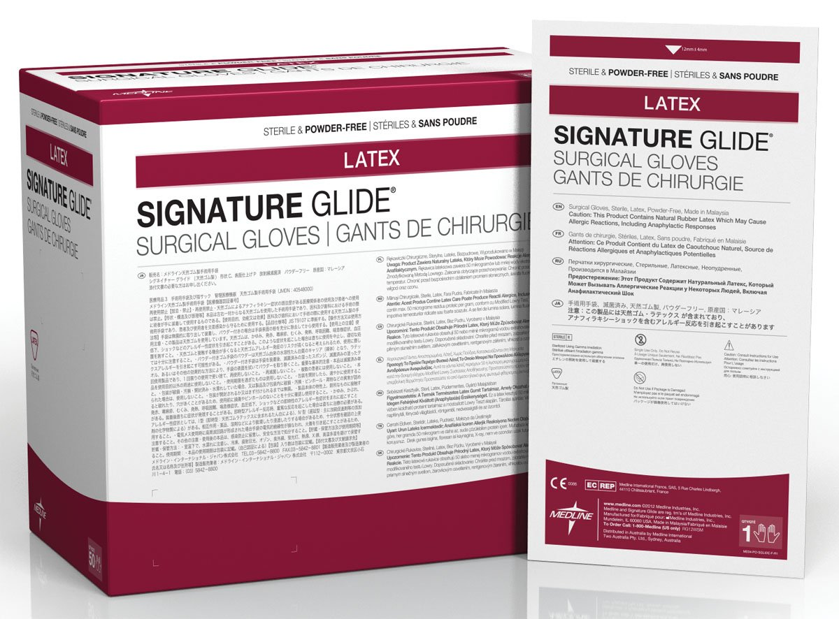 Medline Industries MSG8885 Signature Glide Sterile Powder-Free Latex Surgical Glove, Size 8.5 (Pack of 200) fwpp disposable nitrile gloves medical grade powder free latex free disposable non sterile food safe s m l black 50 pcs