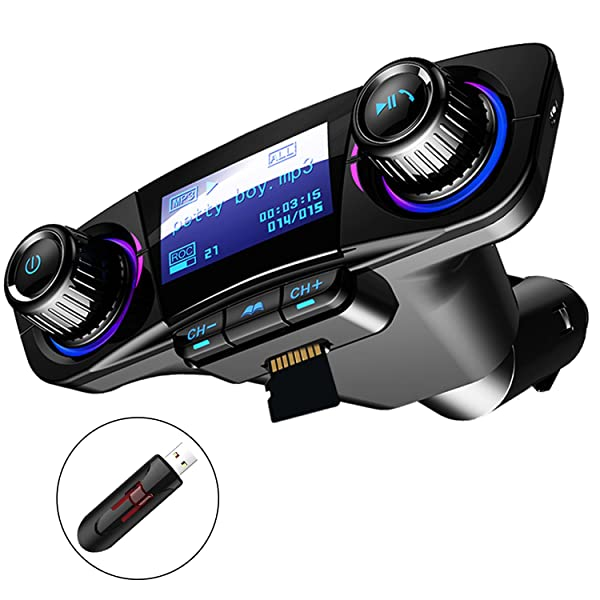 Bluetooth FM Transmitter Car MP3 Player Hands-free Car Kit Wireless Radio Audio Adapter with Dual USB 5V 2.1A USB Charger, U disk, TF card, Folder Playback, AUX Input Output, Voice Navigation