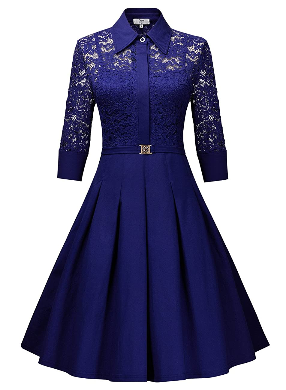 Missmay Women's Vintage 1950s Style 3/4 Sleeve Black Lace Flare A-line Dress 2