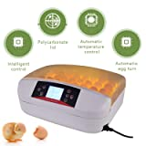 SUNCOO Digital 32 Egg Incubator Hatcher Automatic Egg Turning Temperature Control Poultry Hatching Chickens Ducks Goose Birds Turkey W/LED Display (Color: Yellow+White, Tamaño: 32 eggs)