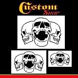 Custom Shop Airbrush Triple Skull Pile Stencil Set (Skull Design in 3 Scale Sizes) - Laser Cut Reusable Templates - Auto, Motorcycle Graphic Art (Tamaño: Skull Pile #2)