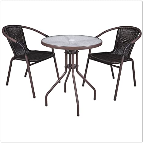LD Juego de 3Bistro Set Asiento Grupo ratán Mobiliario de jardín muebles de jardín muebles de terraza