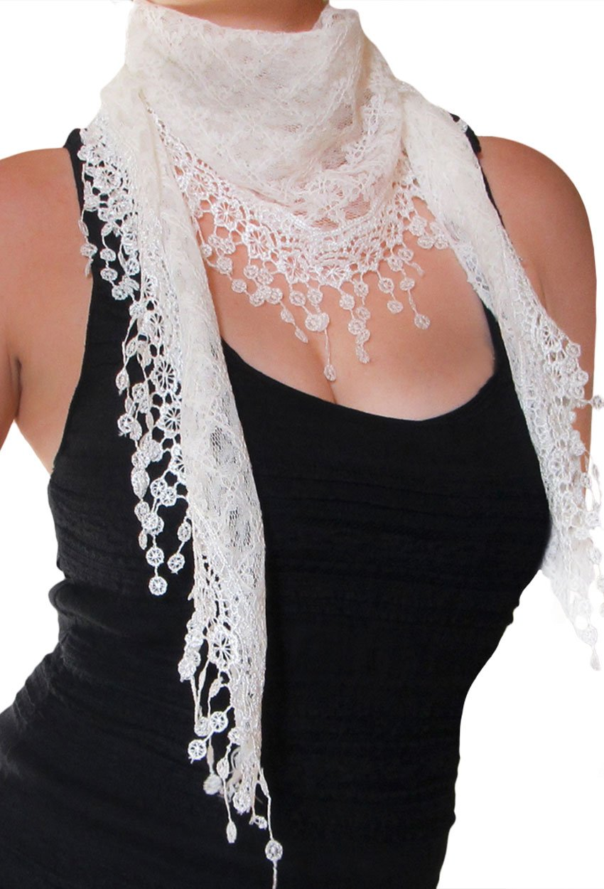 KMystic Lace Triangle Sheer Scarf image