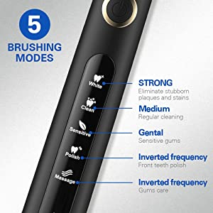 Sonic Technology Electric Toothbrush for Kids and Adults, 2 Minute Timer Powered Rechargeable Toothbrush, 5 Modes 3 Brush Heads, 30 Days Long Battery (Color: 507Black, Tamaño: Medium)