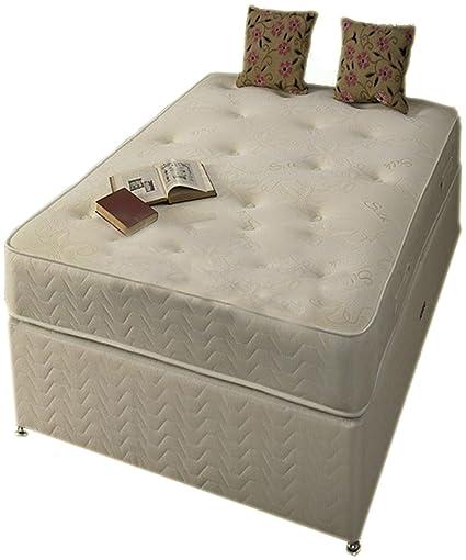 Blanco matrimonio pequeña de Damasco de espuma con efecto memoria juego de cama con canapé incluye Base de listones y colchón (4 x 182,88 cm 3 33 matrimonio pequeña)
