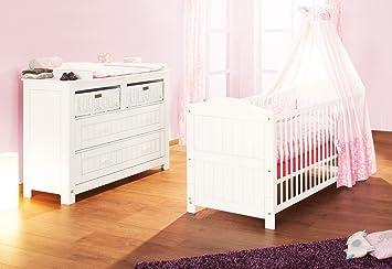Pinolino Sparset Nina breit, 2-teilig, Kinderbett (140 x 70 cm) und breite Wickelkommode mit Wickelansatz, Fichte massiv, weiß lasiert (Art.-Nr. 09 16 17 B)