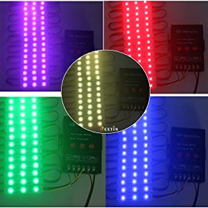 Rextin 200pcs 12V 5050 SMD 3 LED Module RGB Color Changing Waterproof Light Lamp 3 Years Warranty for Home Garden Xmas Wedding Party Decoration or Letter Design (RGB Injection) (Color: Rgb Injection)