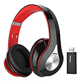 Mpow TV Headphones, 059 Bluetooth Headphones with Bluetooth Transmitter & Carrying Case SET, Plug & Play, Foldable, Light Weight & Protable, Hi-Fi Stereo Wireless Headset for TV/Cell Phones/PC (Color: Black, Red)