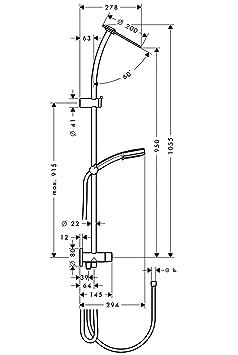 hansgrohe colonne de douche douche showerpipe inversa cascade chrome bricolage m156. Black Bedroom Furniture Sets. Home Design Ideas