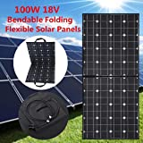 Solar Panel, MOHOO 100W Bendable Foldable Thin Lightweight Solar Panel Battery Charger with MC4 Connector Charging For RV, Boat, Cabin,Tent Car(Compatibility with 18V and Below Devices) (Updated) (Color: 100W)