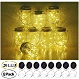 Decem Mason Jar Solar Lights, 8 Pack 20 LED Fairy Star Firefly String Lids Lights with 8 Hangers for Patio Yard Garden Party Wedding Christmas Decoration(Jars Not Included) (Warm White With Hangers) (Color: 20LED-With Hangers)
