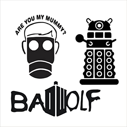 doctor who vinyl sticker/decal 3 pack Dalek, Bad Wolf, and Are you my mummy BFK