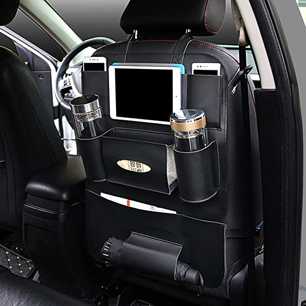 PU Leather Car Seat Back Organizer with Holder Bag for iPad Mini Umbrella Universal Backseat Storage for Cellphones Books Kids/' Toys Bottles Tissue Box