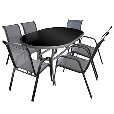 7tlg Gartenmöbel Set Gartengarnitur Sitzgruppe Aluminium Glastisch schwarze Tischglasplatte 140x90cm Gartenstuhl Stapelstuhl pulverbeschichtet mit Textilenbespannung Sitzgarnitur Terrassenmöbel