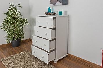 Kommode Kiefer massiv Vollholz weiß lackiert Junco 145 - Abmessung 100 x 60 x 42 cm