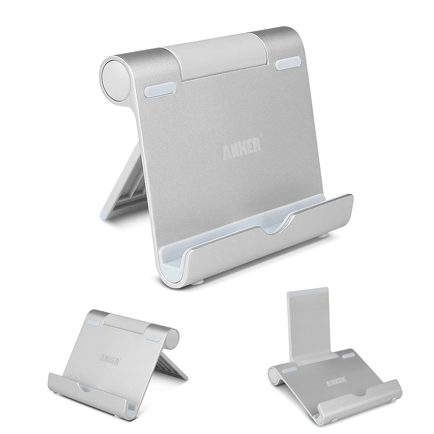 Anker Multi-Angle Portable Stand for 4 to 10-Inch Smartphones, E-Reader and Tablets - Silver