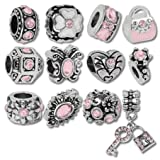 European Charm Bracelet Charms and Beads For Women and Girls Jewelry, Birthstone October Pink (Color: Pink)