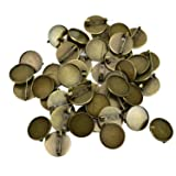 Monrocco 50Pcs Round Brooch Safety Pin Backs Bases for DIY Hairpins Brooches,Antique Bronze