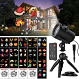Halloween Christmas Projector Lights, Upgraded 16+4 Slides Waterproof IP65 Outdoor Landscape 6W Motion LED Projection Lights, 16ft Power Cable for Decoration Lighting on Holiday Birthday Wedding Party (Color: 6w(black)6w(black))