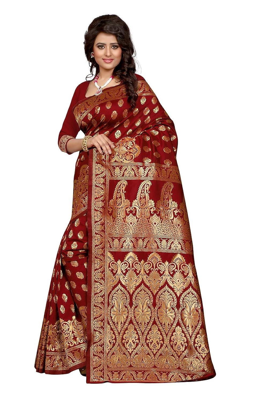 Shree Sanskruti Self Design Maroon Color Banarasi Art Silk Saree