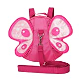 EPLAZA Toddler Walking Safety Butterfly Belt Backpack with Leash Child Kid Harness Strap Bag (rose red backpack) (Color: rose red backpack)