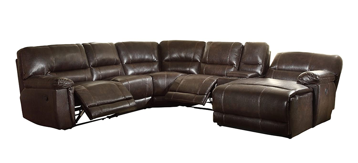 Homelegance 6 Piece Faux PU Leather Sectional Reclining Sofa with Chaise - Brown
