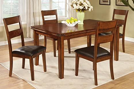 Poundex F2192 & F1231 Oak Table & Black Vinyl Chairs Dining Set