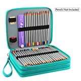Miraclekoo 120 Slots PU Leather Pencil Holder Pencil Case Large Capacity Multi-layer Pencil Bag (Turquoise) (Color: Turquoise)